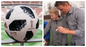 Otec so synom sa tentokrát rozhodli rozrezať futbalovú loptu z MS 2018