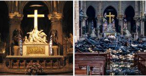 Fotografie PRED a PO, ktoré znázorňujú, aké devastačné následky mal požiar v Notre Dame